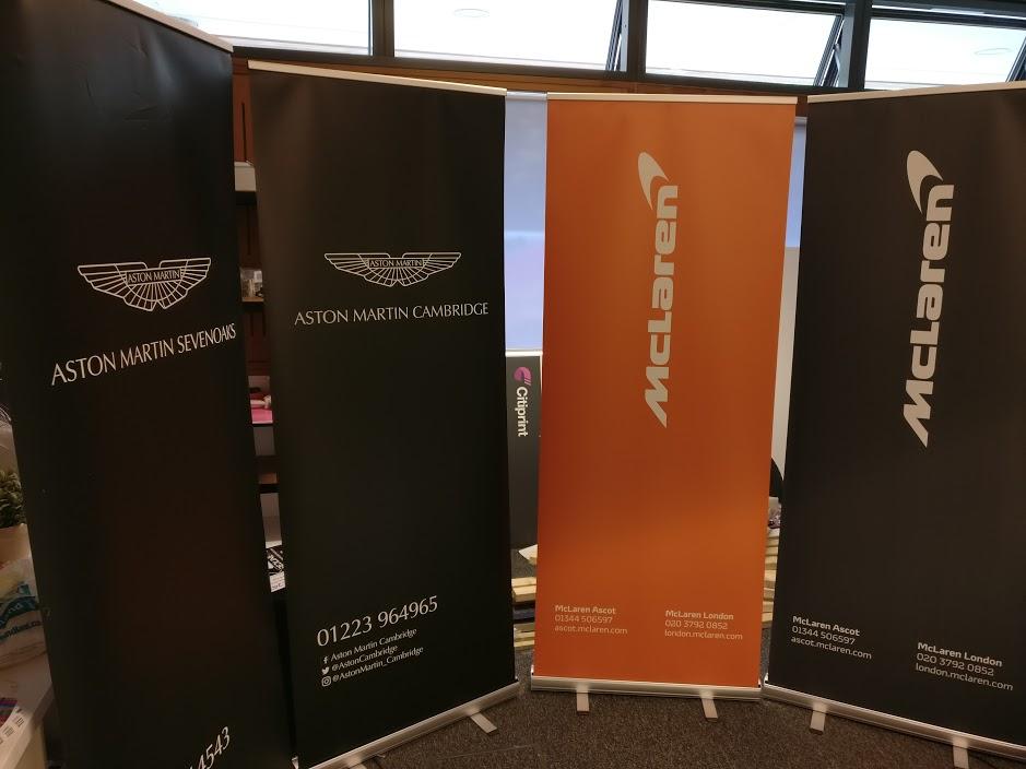 Same Day Roller Banner Printing London McLaren Aston Martin